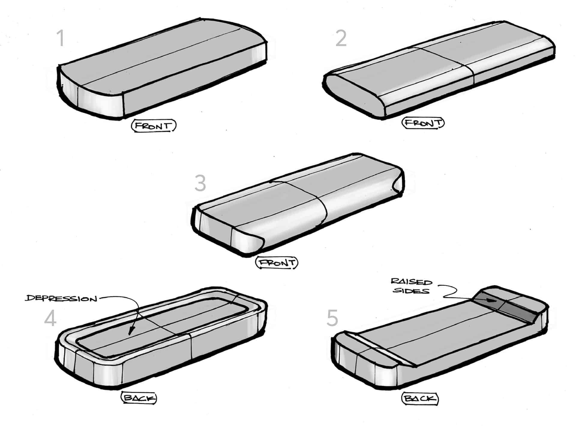 Industrial design sketches of the Modulus remote