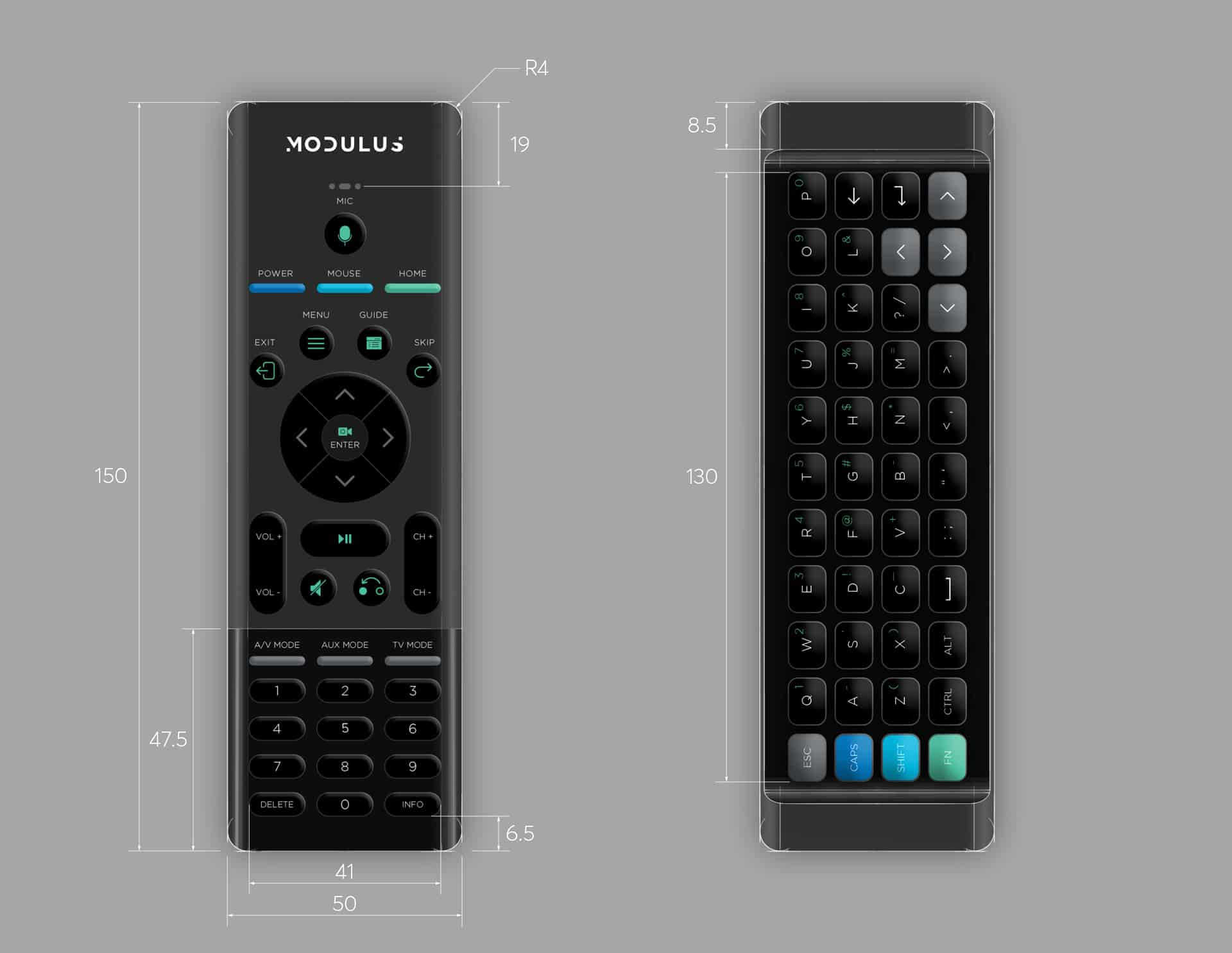 ID rendering of Modulus Media Systems remote