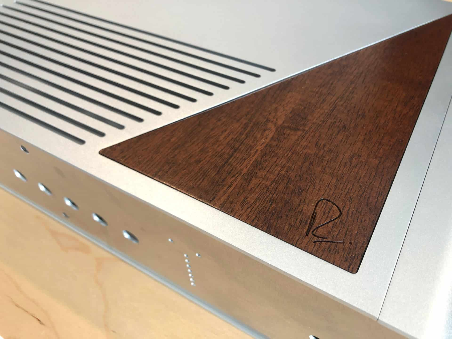 Close up of the wood insert on the Rupert Neve Design DAC