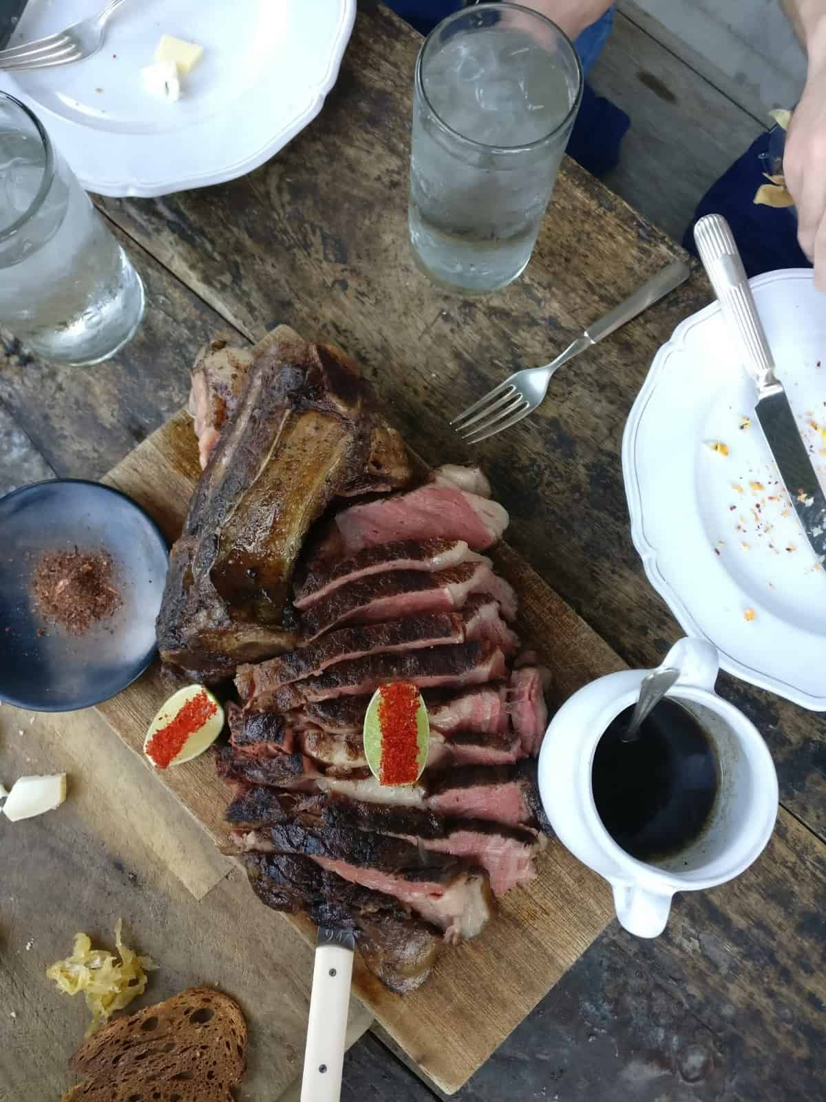 Steak dinner in Marfa