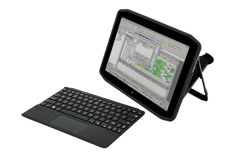 Front view of the Motion Computing R12 keyboard and stand