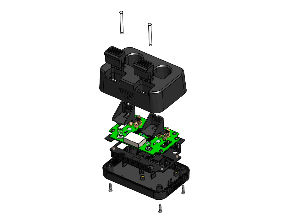 Exploded view of the Tracking Point battery charger