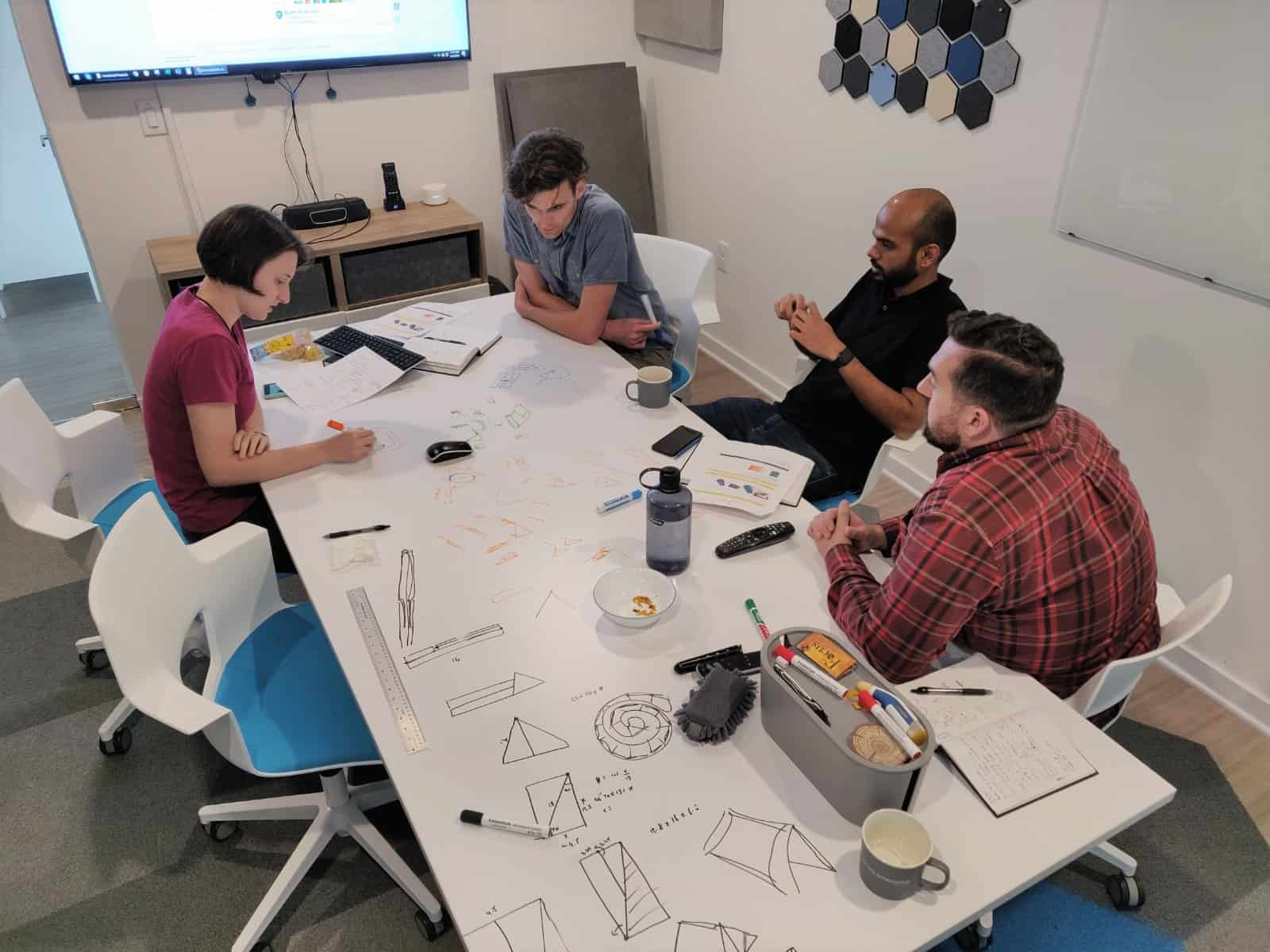 The Produktworks team during a brainstorming session